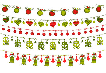 Greeting card with hanging Christmas ornaments