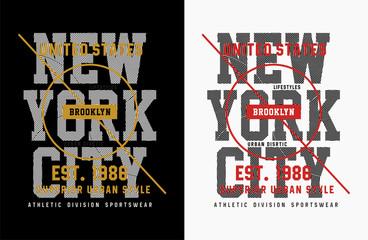 New York City Typography T-shirt Print, Vcetor