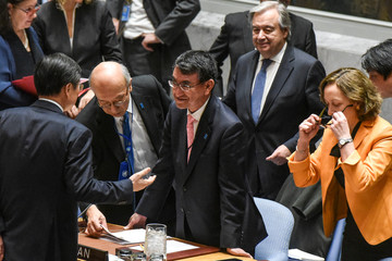 Japan's Minister of Foreign Affairs Taro Kono arrives for a United Nations Security Council meeting about North Korea's nuclear program at the United Nations headquarters in New York City
