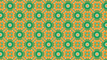 illustration artwork design colored orange white and green of different shapes as pattern texture background wallpaper