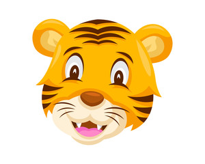 Cute Smiling Tiger Face Emoticon Emoji Expression Illustration
