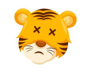 Cute Embarrassed Tiger Face Emoticon Emoji Expression Illustration