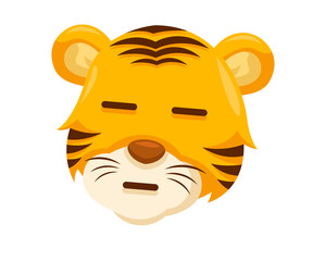 Cute Straight Face Tiger Face Emoticon Emoji Expression Illustration