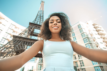 Young woman traveler paris vacation abroad concept