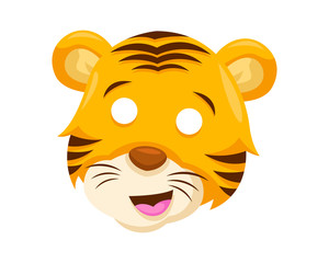 Cute Surprised Tiger Face Emoticon Emoji Expression Illustration