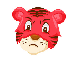 Cute Angry Tiger Face Emoticon Emoji Expression Illustration