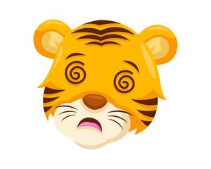 Cute Dizzy Tiger Face Emoticon Emoji Expression Illustration