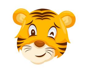 Cute Winking Tiger Face Emoticon Emoji Expression Illustration