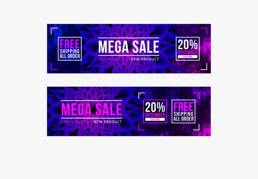 Sale Banners with Ultra Violet Design Elements