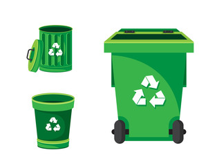 Modern Green Recycle Garbage Bin And Trash Object Illustration