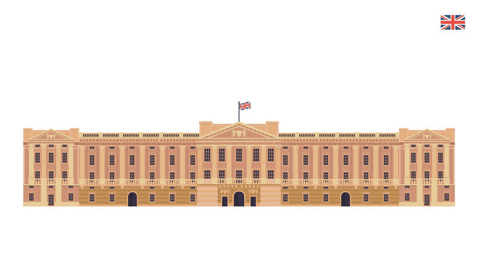 Modern United Kingdom Famous Tourist Landmark Building Illustration - Buckingham Palace