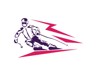 Professional Ski Player In High Speed Illustration