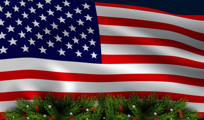 Vector american flag with christmas tree board/ Christmas patriotic background