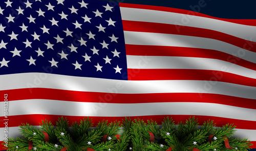 vector american flag with christmas tree board christmas patriotic