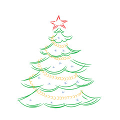 Colored outline of a Christmas tree on a white background