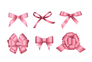 Set of pink gift bows. Vector illustration. Concept for invitation, banners, gift cards, congratulation or website layout vector.