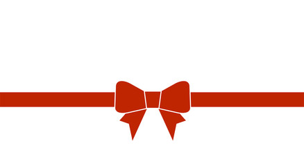 Decorative beautiful red bow with horizontal ribbon isolated on white background. Vector bow.