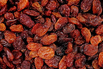 Raisins as background Grape Raisin texture. Food photo.