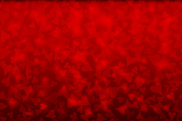 Red background with flowing defocused chaotic blurred hearts