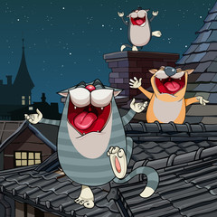 cartoon funny cats yelling on the roof at night
