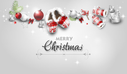 Christmas greeting card with christmas decoration