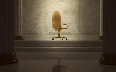 Goldener Bürostuhl als Thron