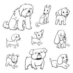 Cartoon style dogs set