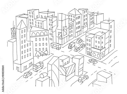 u0026quot city street intersection sketch  traffic road view  cars end buildings top view  hand drawn