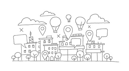 City panorama sketch. Balloon in the sky, geolocation markers and bubble. Infographic hand drawn vector stock illustration. Building architecture landscape.