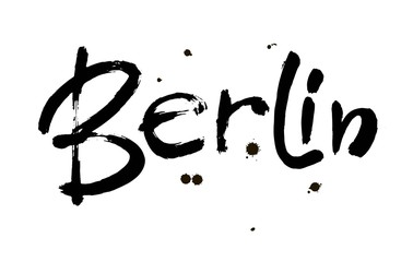 Berlin. Capital of Germany. Ink hand lettering. Modern brush calligraphy. Isolated on white background. Vector