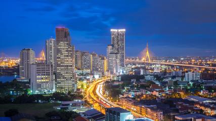 Bangkok city - Aerial view of Bangkok city downtown cityscape urban skyline at night , landscape Thailand