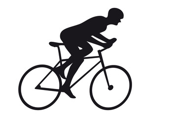 Road Cycling Cyclist Bicyclist Cycle Race Icon Silhouette. Bicyclist Riding Bicycle Isolated on White Background Vector Illustration.