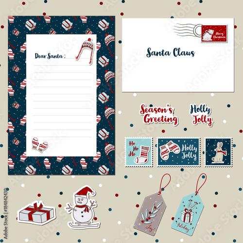 A set of merry christmas santa cute letter envelope templates a set of merry christmas santa cute letter envelope templates scrapbook stamps stickers spiritdancerdesigns Gallery