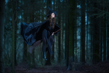 Witch flying on a broom in the forest