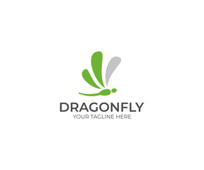 Dragonfly Logo Template. Insect Vector Design. Animals Illustration