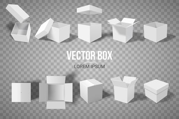 A set of open and closed boxes in different angles. Isometry in perspective. White cardboard box. Vector illustration. Fototapete