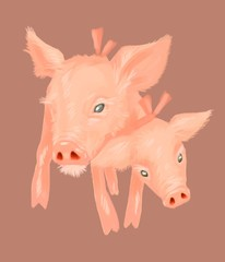 Two headed pig with pink bow