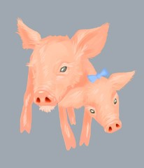 Two headed pig with blue bow illustration