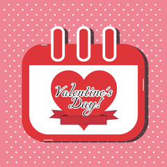 Valentines Day Calendar Card - Vector Illustration