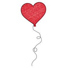 Heart Shaped Balloon - Scribble Vector Illustration