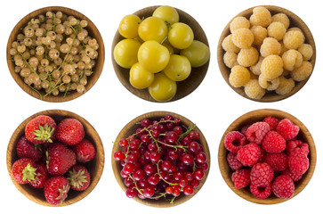 Collage of different fruits and berries. Cherry, strawberry, pomegranate, red currant, raspberry, apricot, yellow plum and yellow raspberry. Top view