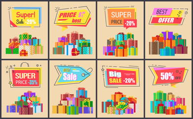 Super Price Big Sale Posters Vector Illustration