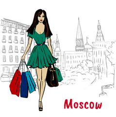 man with shopping bags in Moscow