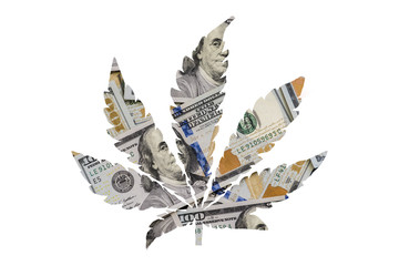 Background concept of money and taxes with the sale of cannabis, money marijuana Insulation