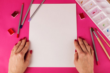 Artist painting by pencil. realism painting. Women's hands. Mockup