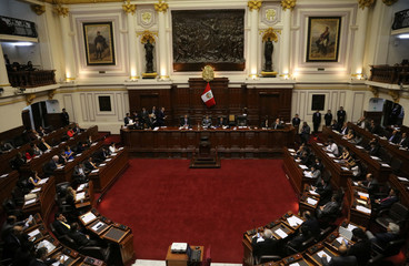 Peru's Congress President Luis Galarreta leads the session to file a motion to impeach President Pedro Pablo Kuczynski at the Congress in Lima