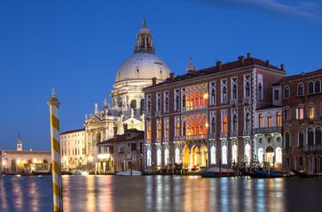 Basilica Santa Maria della Salute at night, Venice, Italy