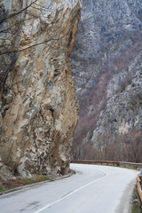 asphalt road running through the Rugova canyon - Kosovo, Balkans
