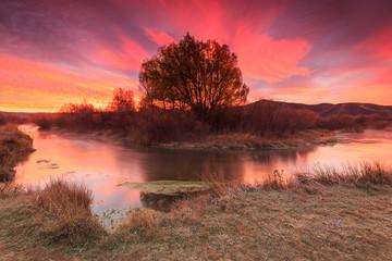 Sunrise on the Provo River, Utah, USA.