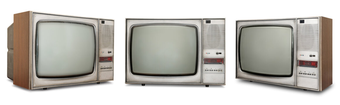 Set of old TVs isolated on white